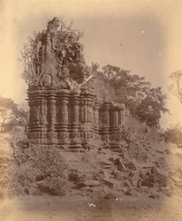 View of a single small ruined temple near the village of Anjaneri, Nasik District 10032156